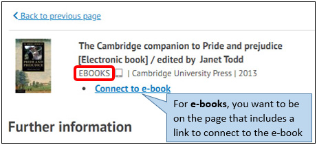 Image of library catalogue page for an e-book