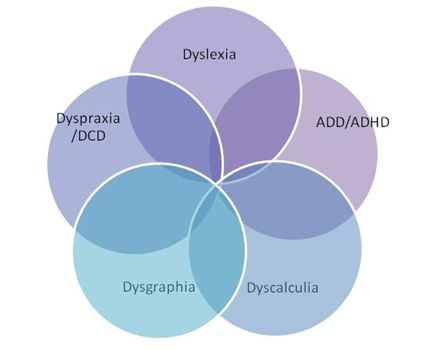 Image of 5 circles representing Dyslexia, ADD/ADHD, Dyscalculia, Dysgraphia and Dyspraxia coming together as a group of specific learning difficulties