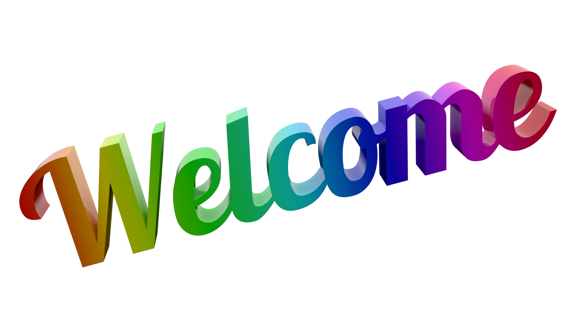 Word Welcome in colourful lettering