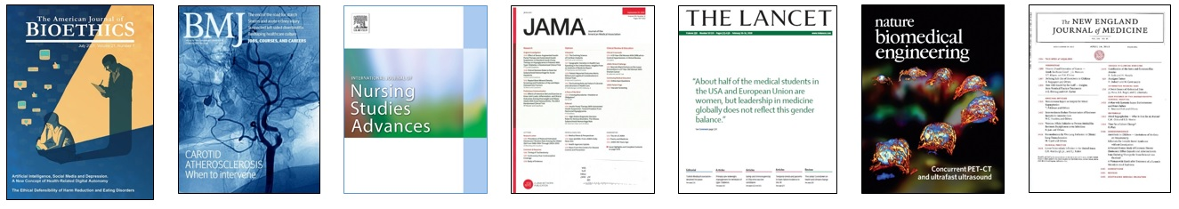 Row of cover images from the following journals, from left to right: American Journal of Bioethics, BMJ, International Journal of Nursing Studies Advances, JAMA, The Lancet, Nature Biomedical Engineering, and New England Journal of Nursing