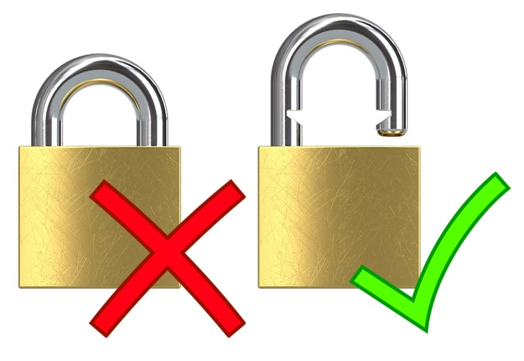 Image of a locked padlock marked with a red cross beside an unlocked padlock with a green tick