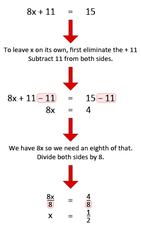 Solving simple equations example 4.