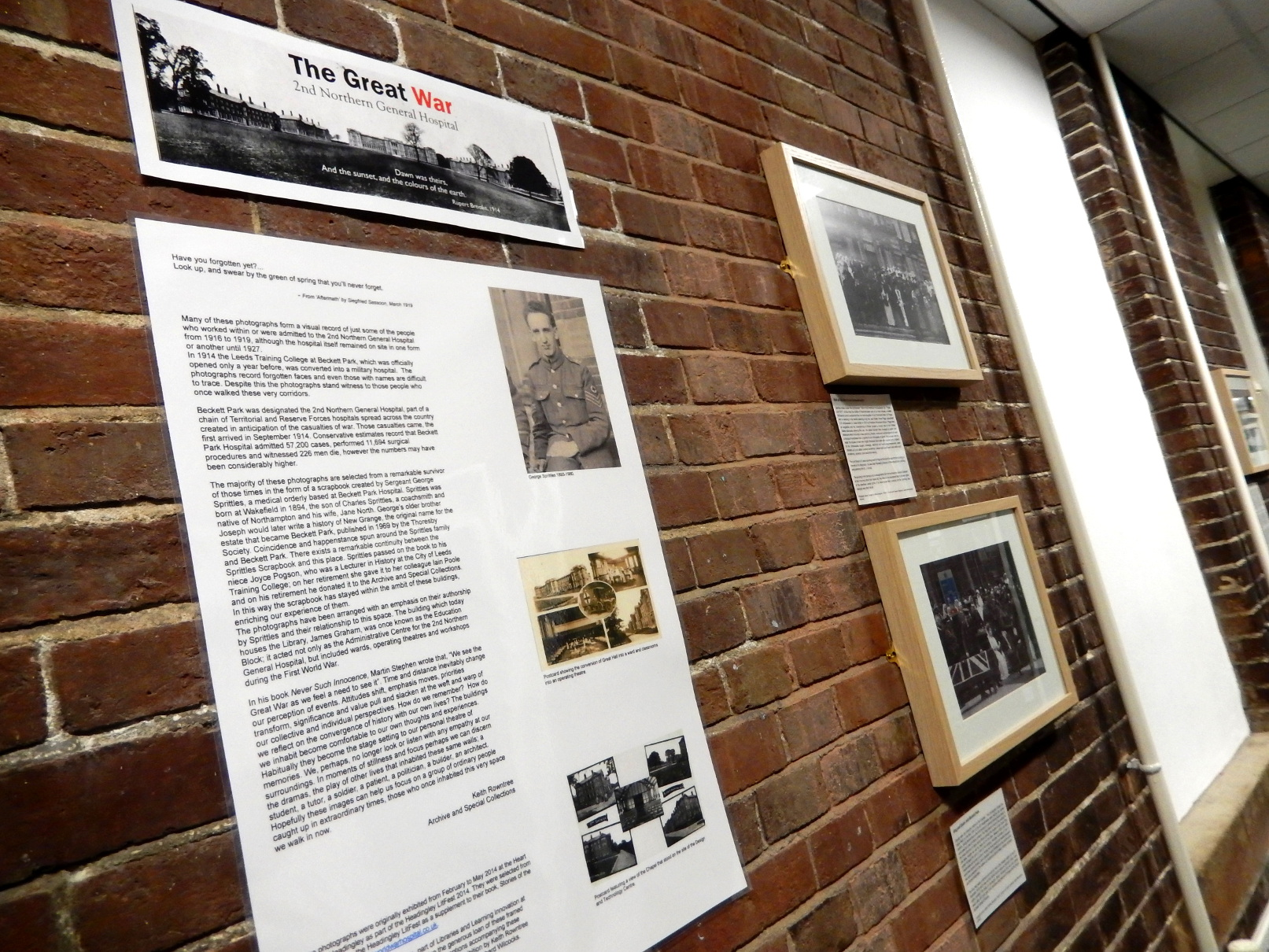 The WW1 exhibition at the Headingley Campus Library on the first floor