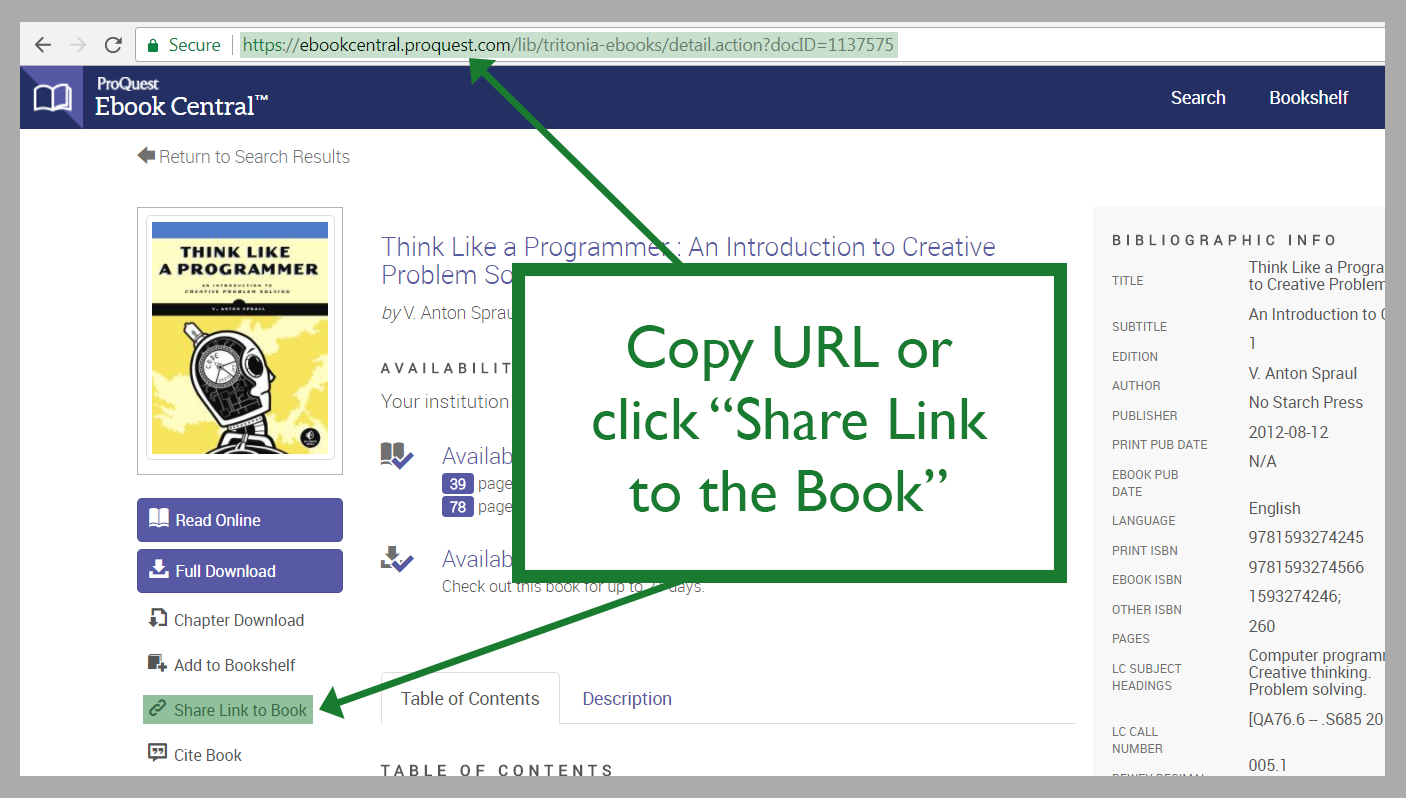 "Copy URL or click ""Share book"""