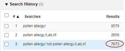 screenshot pollen allergy Emtree vs .ti,ab,kw.