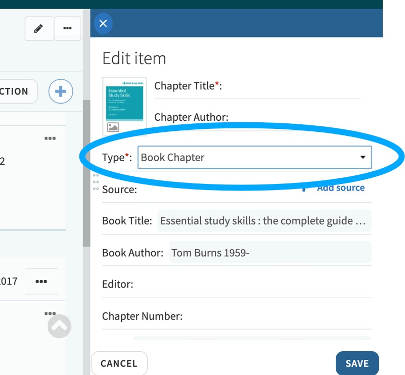 An image of the Edit Item frame in Leganto; changing an item from a book to a book chapter.