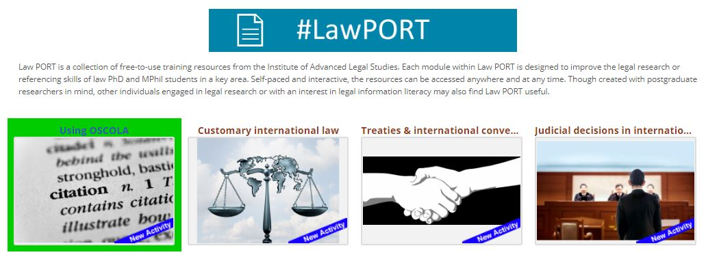An image of the #LawPORT start page for the OSCOLA tutorial.