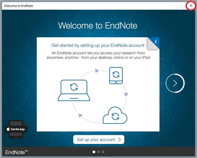 Welcome to EndNote pop-up window; click to close this.