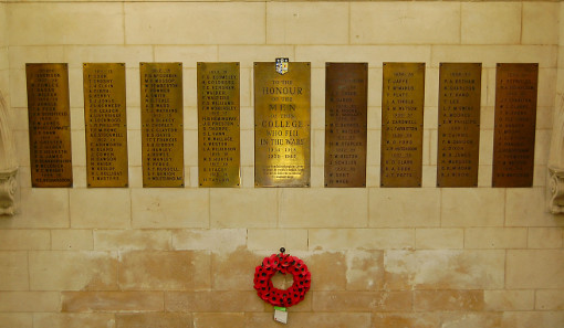 The college war memorial in the entrance of James Graham Building