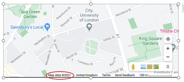 OS map of City, University of London and surrounding area, to show copyright information