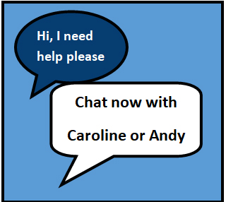 Icon for chat with Caroline or Andy