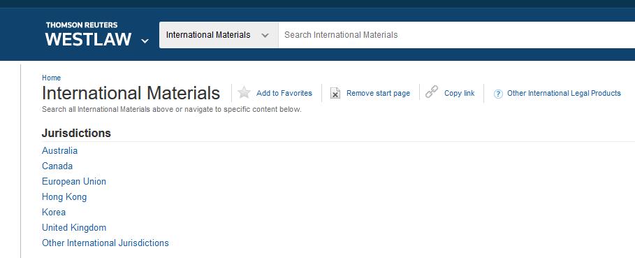 Screenshot of the International Materials screen