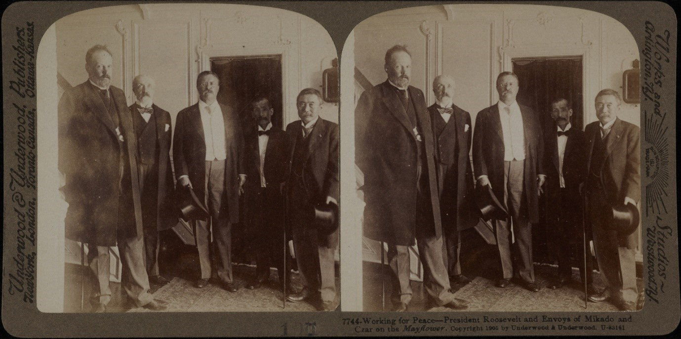 Stereoscopic view showing President Roosevelt and Envoys of Mikado and Czar on the Mayflower