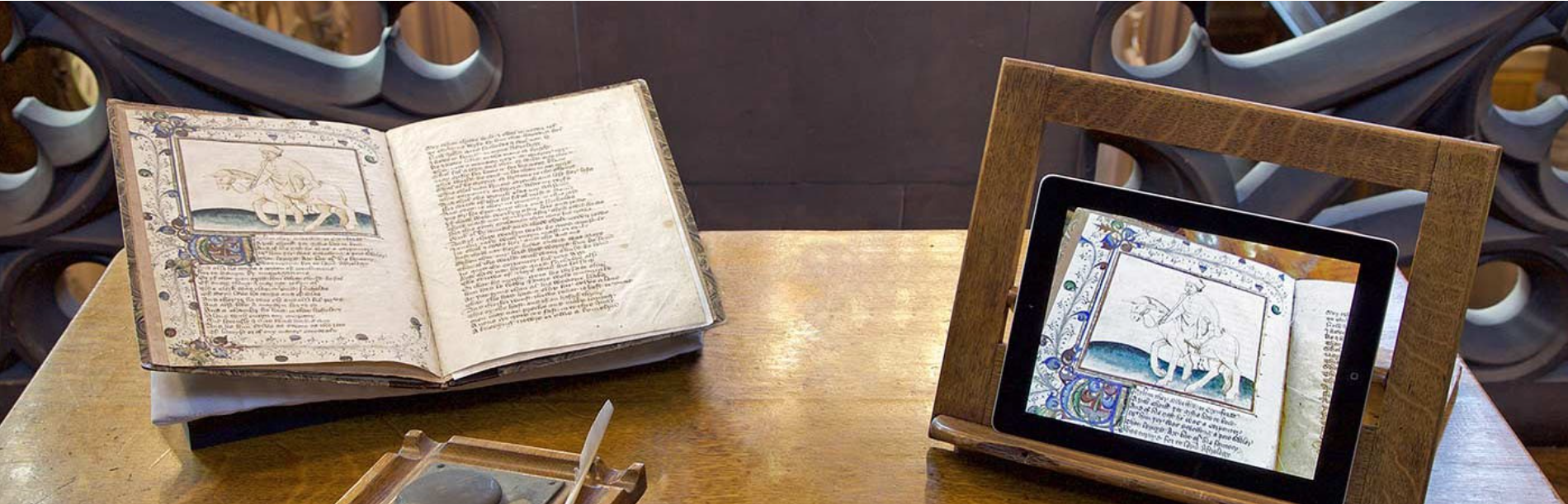 picture of a Chaucer manuscript and an iPad image of the same manuscript