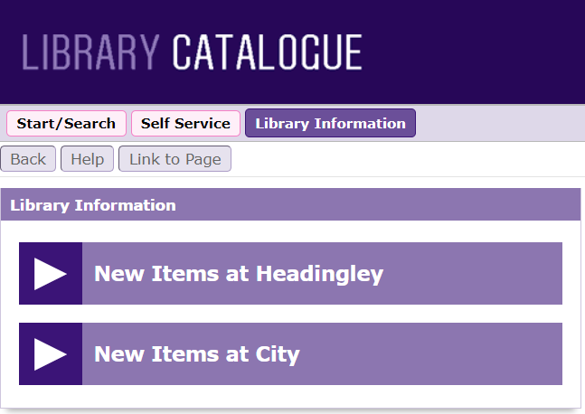 Library information box showing links for New Items at Headingley and New Items at City