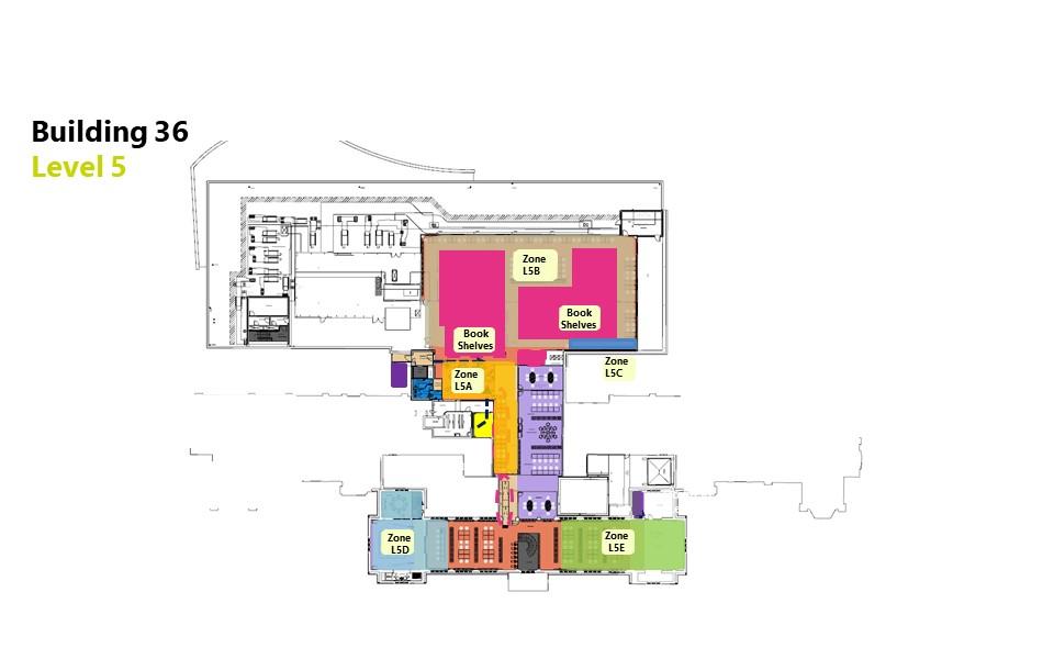 Hartley Library level 5 floor plan showing bookable zones