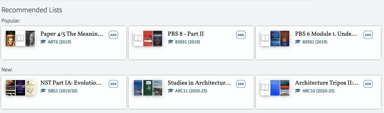Reading lists screenshot