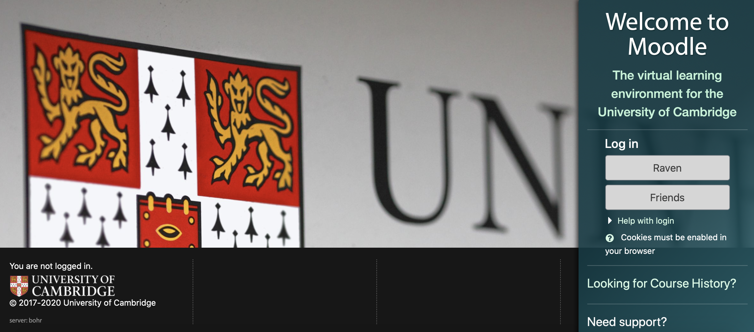 main page for The virtual learning environment for the University of Cambridge.