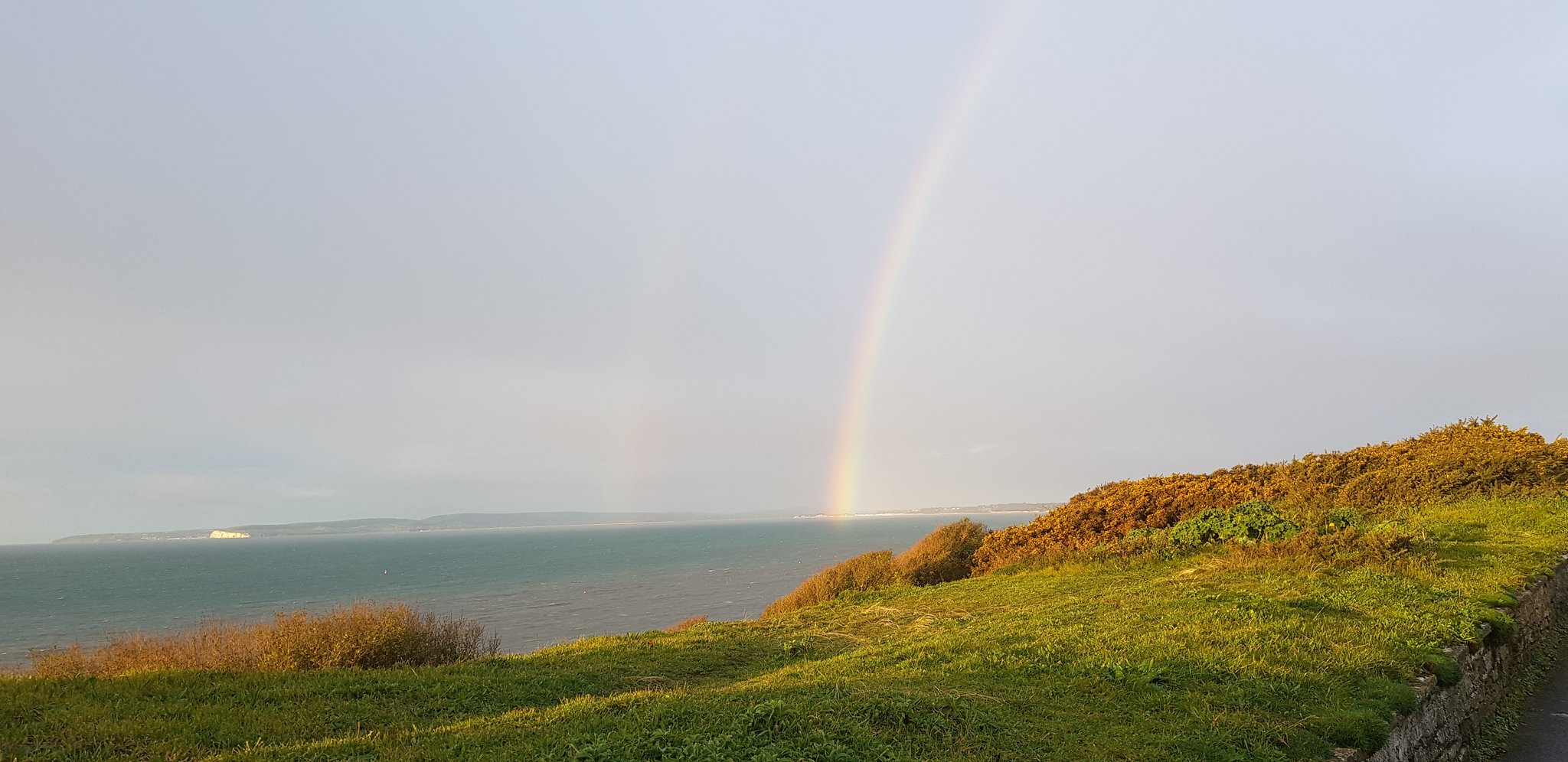 Rainbow over sea in Bournemouth, Dorset