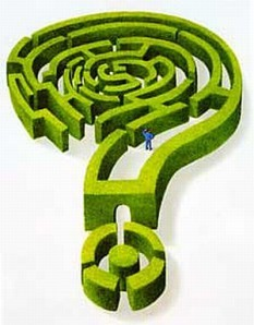 An image of a maze in the shape of a question mark