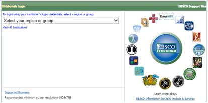 Image of EBSCO login box
