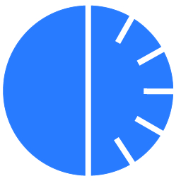 a blue clock face showing thirty minutes