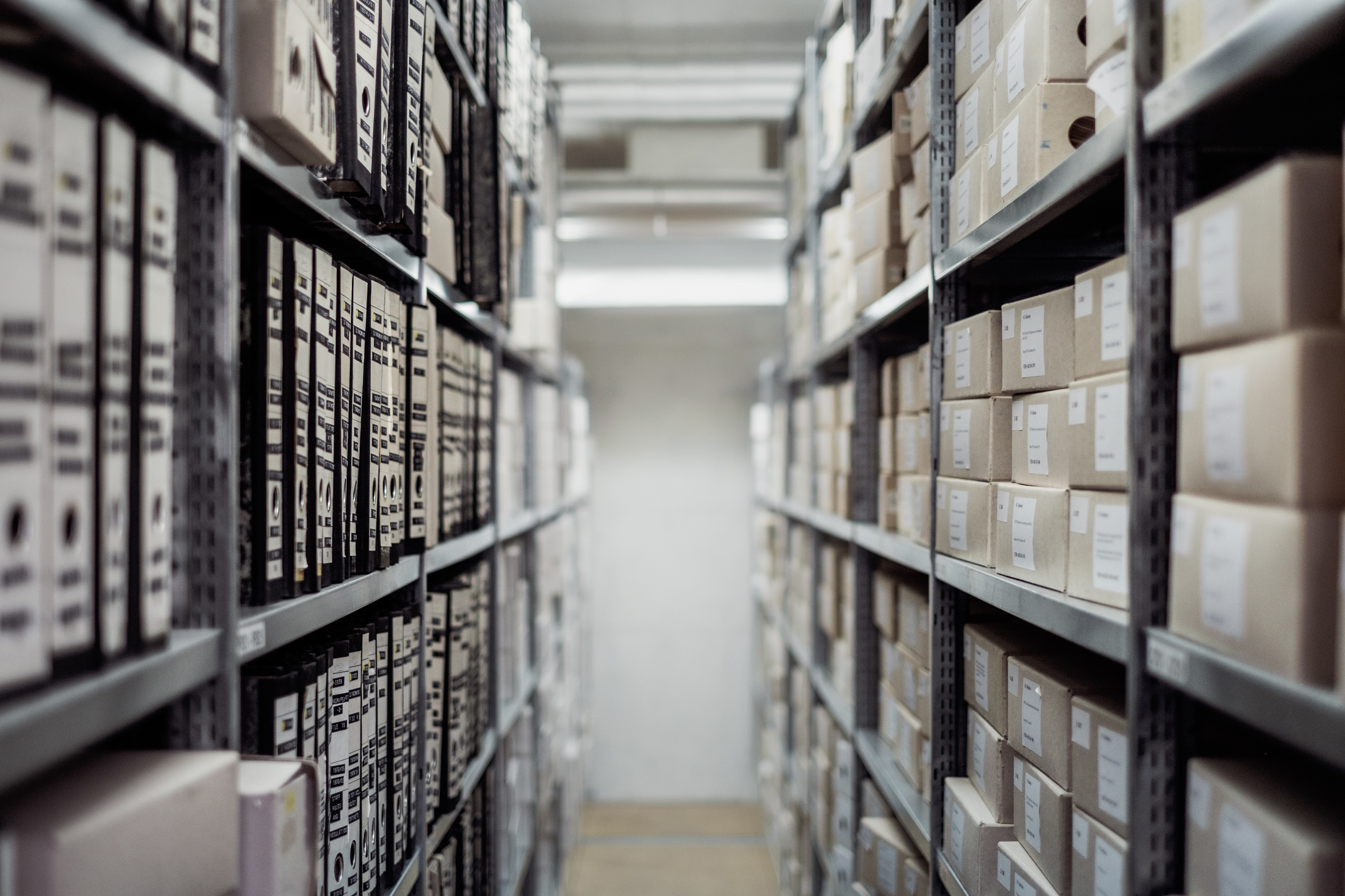 A black and white image of an archive, with folders and files lined up on shelves