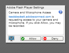 Adobe Flash Player Settings permissions dialogue box with active buttons to allow or deny access to camera and microphone