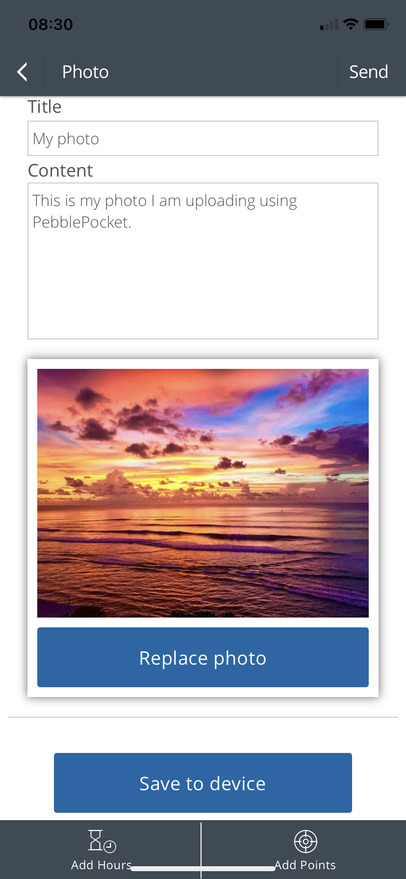 Form for adding title and details to a photo upload