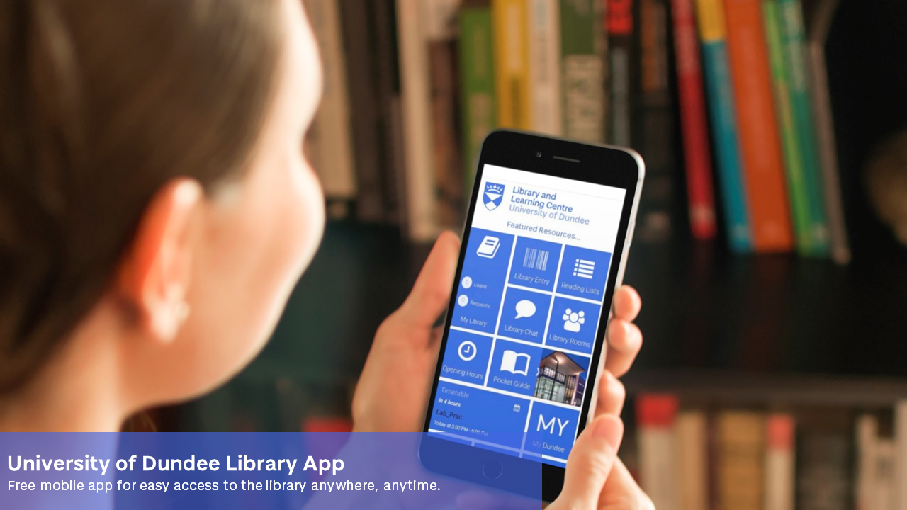 Woman holding phone showing library app on screen with library background
