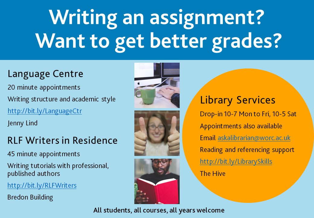 Academic writing skills support poster with information about Language Center, Writers in Residence and Library Services. Information provided in more detail prior to this image.