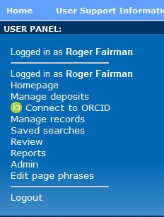 Screen shot of lefthand Navigation panel showing the 'Connect to ORCiD' link