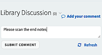 Library discussion feature