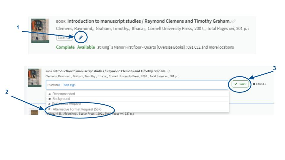 Cropped screenshot showing the book Introduction to Manuscript studies being added to a reading list, illustrating how to add the Alternative Format request tag to an item