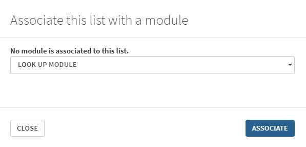 An image showing how to associating a list with a module.
