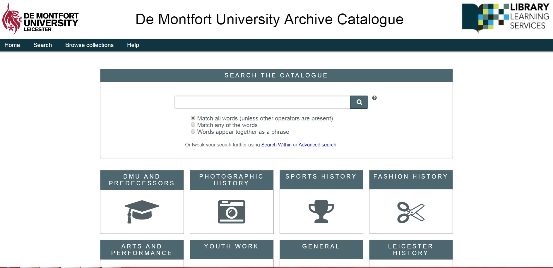 Link to archive catalogues