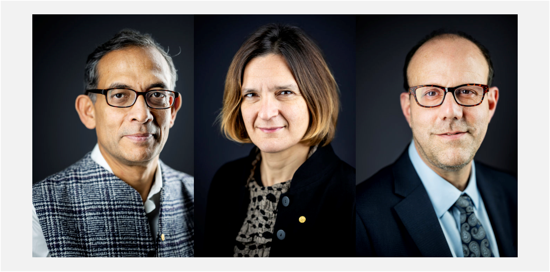 Fotografías de los Nobel de Economía 2019  Abhijit Banerjee, Esther Duflo y Michael Kremer