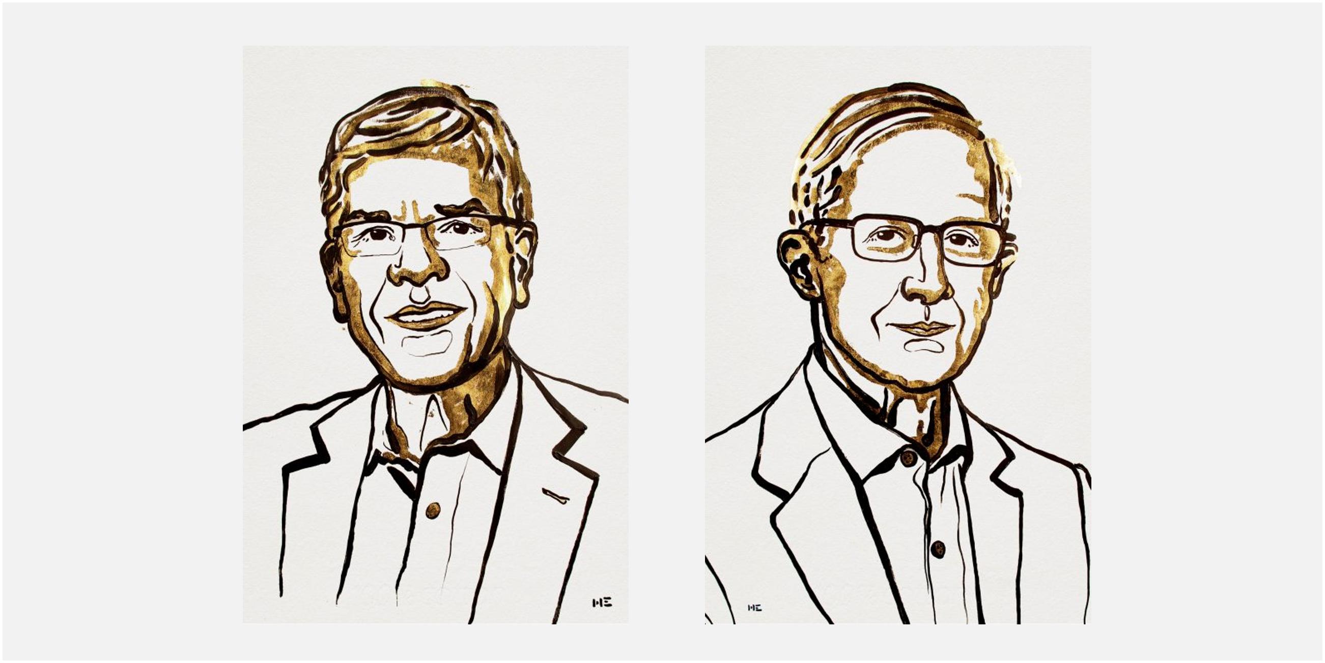 Ilustración de los Nobel de Economía 2018 William D. Nordhaus y Paul M. Romer por Niklas Elmehed, difundida por la Academia Sueca.