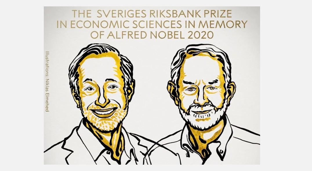 Ilustración de Paul R. Milgrom y Robert B. Wilson, realizada por Niklas Emehed para Nobel Prize