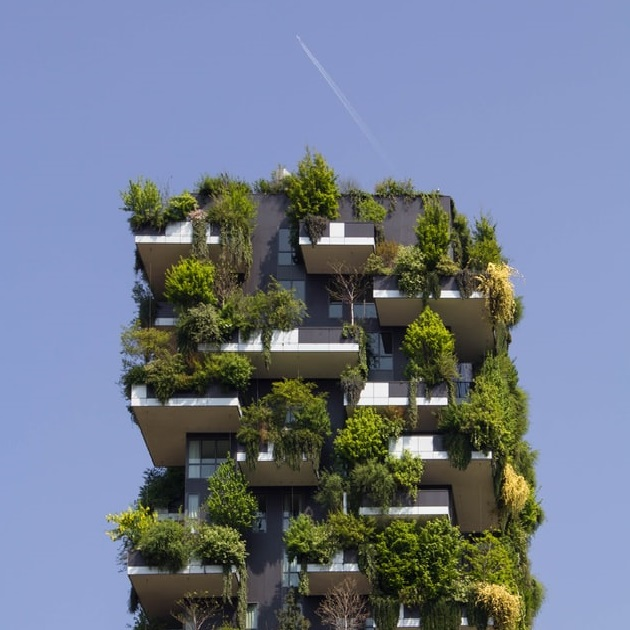 Parte de superior de rascacilos con jardín vertical