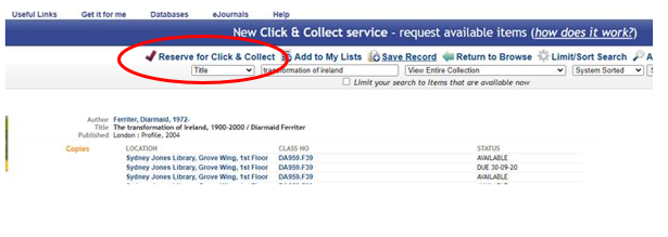 Library Catalogue record, reserve button highlighted