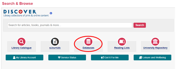 Library homepage with link to Databases highlighted