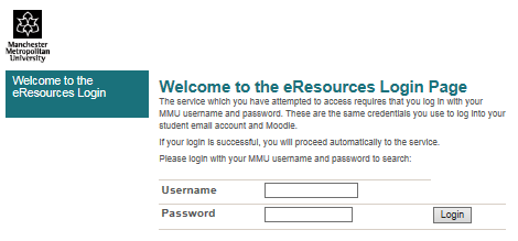 Manchester Met eresources login page screenshot