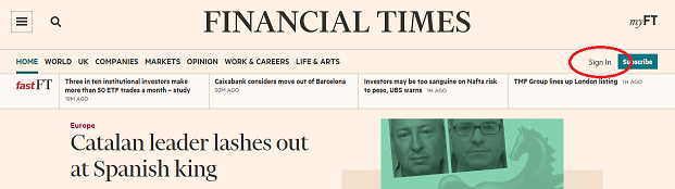FT sign in link screenshot