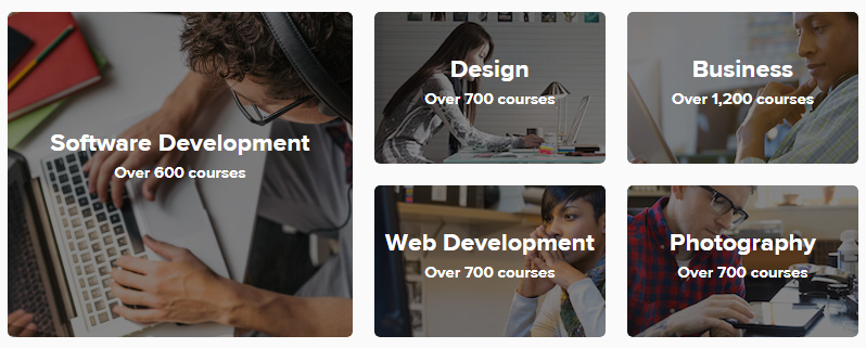 Software development:over 600 courses. Design:over 700 courses. Web development:over 700 courses. Business:over1,200 courses. Photography:over 700 courses.