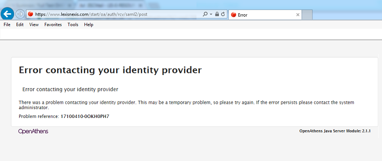 error contacting your identity provider screenshot