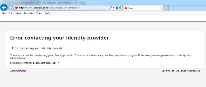 error contacting your identity provider screenshot