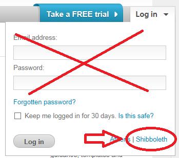 Screenshot of XpertHR login box with shibboleth login highlighted.
