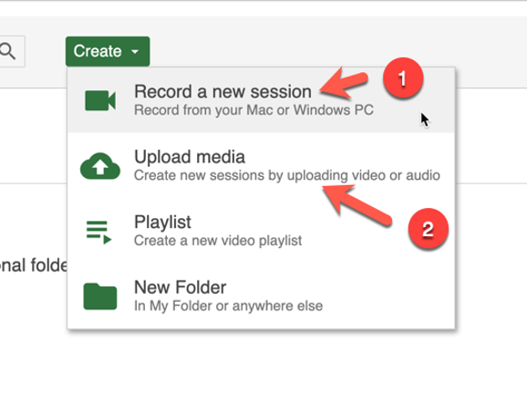 screenshot showing  the creat option within  panopto and the recordd new sesion option highlioghted as well  as Upload media