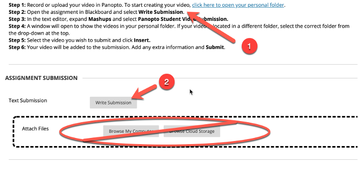 screenshot showing the assignment submission p[int with six steps highlighted and the write submision button highlighted